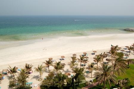 ajman: Beach and turquoise water of the luxury hotel, Ajman, UAE
