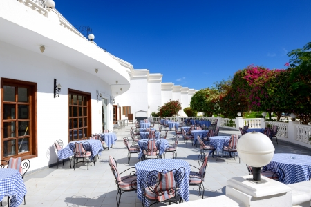 el sheikh: The outdoor terrace at luxury hotel, Sharm el Sheikh, Egypt Editorial