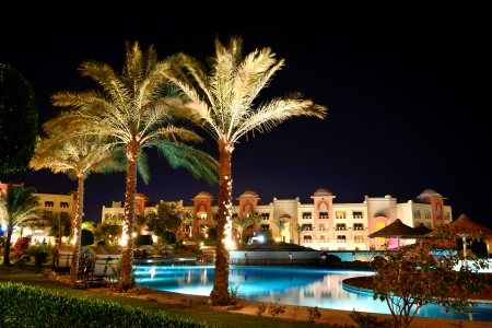The swimming pool at luxury hotel in night illumination, Hurghada, Egypt