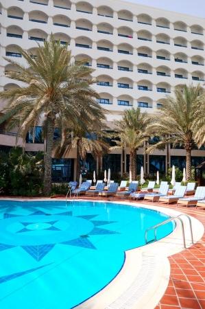ajman: Swimming pool and building of the luxury hotel, Ajman, UAE