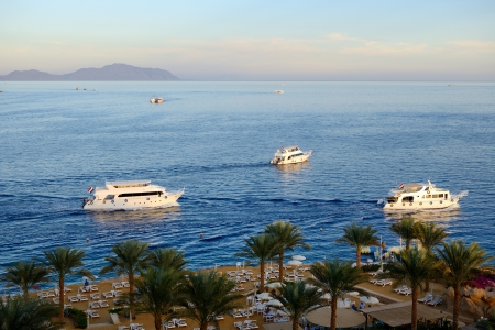 naama bay: Sunset at Naama Bay, Red Sea and motor yachts, Sharm el Sheikh, Egypt