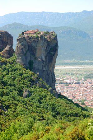 kalampaka: Kalampaka Town and rock with Holy Trinity Monastery on a top, Meteora, Greece Stock Photo