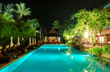 Night illumination at luxury hotel, Phuket, Thailand