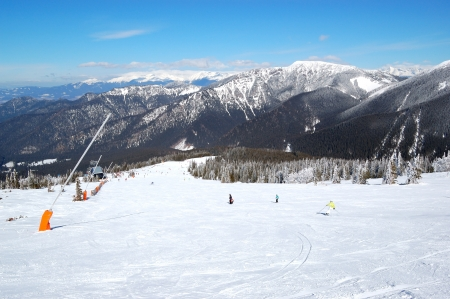 piste: Free ride area on Chopok in Jasna ski resort, Low Tatras, Slovakia Stock Photo