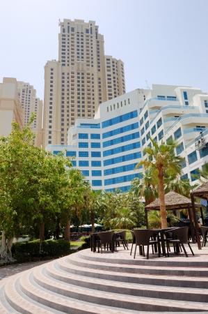 Outdoor bar and building of luxury hotel, Jumeirah, Dubai, UAE