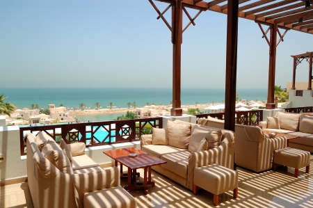 Sea view terrace at luxury hotel, Ras Al Khaimah, UAE
