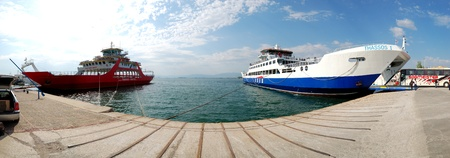 beach cruiser: KERAMOTI, GREECE - APRIL 28: The Thassos ferry going to Thassos island on April 28, 2010 in Keramoti, Greece. The ferry transports thousands passengers daily. Editorial