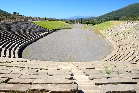 peloponnise: The stadium with mausoleum in ancient Messene (Messinia), Peloponnes, Greece