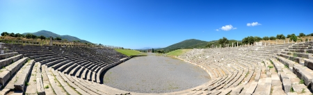 peloponnise: The Panorama of stadium with mausoleum in ancient Messene (Messinia), Peloponnes, Greece Stock Photo