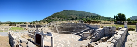 peloponnise: The Panorama of ruins in ancient Messene  Messinia , Peloponnes, Greece