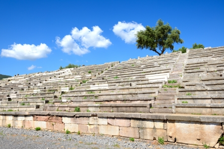 peloponnise: The stands on stadium in ancient Messene  Messinia , Peloponnes, Greece