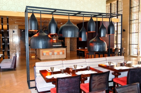 The restaurant interior of luxury hotel, Saadiyat island, Abu Dhabi, UAE