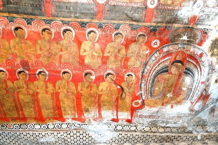 documented: DAMBULLA - OCTOBER 15  The paintings inside of Dambulla cave temple  It is the large cave temple complex with more than 80 documented caves and 153 Buddha statues  October 15, 2011 in Dambulla, Sri Lanka
