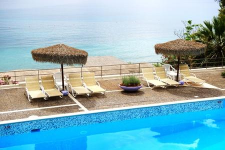 peloponnes: Sea view swimming pool in the luxury hotel, Peloponnes, Greece