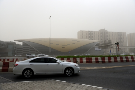 happens: DUBAI, UAE - SEPTEMBER 8  The sandstorm in Dubai on September 8, 2013 in Dubai, UAE  It usually happens a few times pro year