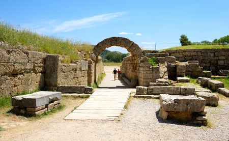 peloponnes: The entrance in ancient Olympia Stadium, Peloponnes, Greece