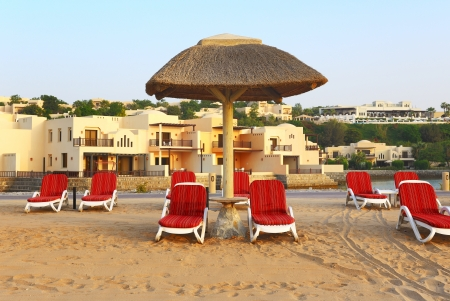 windtower: Beach of the luxury hotel during sunset, Ras Al Khaima, UAE