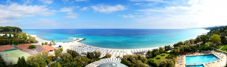 Panoramic view on a beach at the modern luxury hotel, Halkidiki, Greece