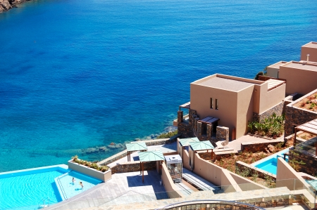 Swimming pool with sea view at the luxury hotel, Crete, Greece photo