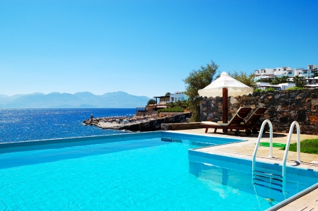 aegean sea: Swimming pool at luxury villa, Crete, Greece