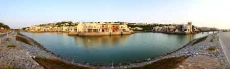 khaima: Panorama of the luxury hotel during sunset and beach, Ras Al Khaima, UAE