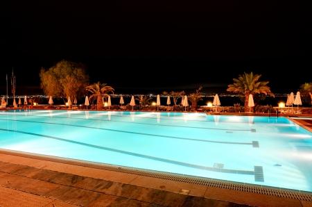 peloponnes: Swimming pool near beach in night illumination at the luxury hotel, Peloponnes, Greece