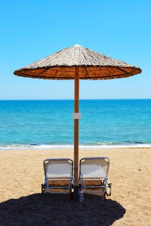 peloponnes: The beach at modern luxury hotel, Peloponnes, Greece