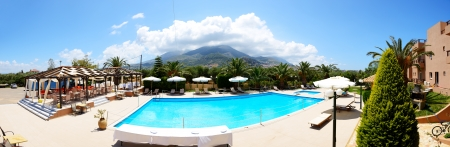 peloponnes: The panorama of swimming pool near luxury hotel, Peloponnes, Greece Editorial