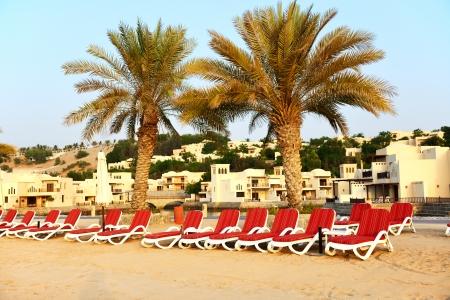 khaima: Beach of the luxury hotel during sunset, Ras Al Khaima, UAE