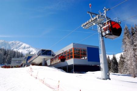 station ski: The cableway station at popular ski resort and slope