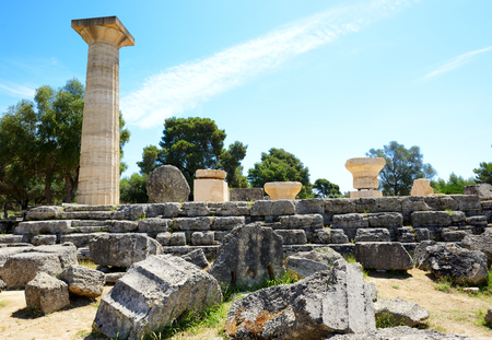 peloponnise: The Temple of Zeus ruins in ancient Olympia, Peloponnes, Greece
