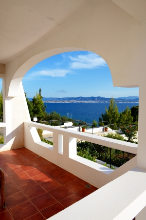 peloponnes: Sea view from apartment in the luxury hotel, Peloponnes, Greece