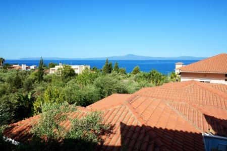 peloponnes: Traditional style villas at luxury hotel, Peloponnes, Greece Stock Photo