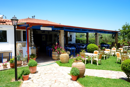 peloponnes: Traditional Greek open-air restaurant, Peloponnes, Greece