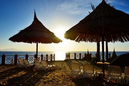 el sheikh: Sunrise and beach at the luxury hotel, Sharm el Sheikh, Egypt Stock Photo