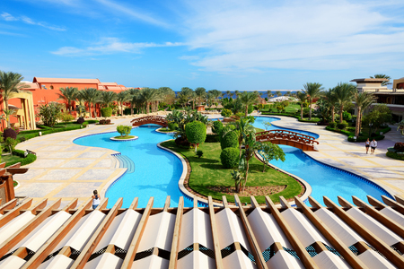 el sheikh: The beach with swimming pool at luxury hotel, Sharm el Sheikh, Egypt Editorial