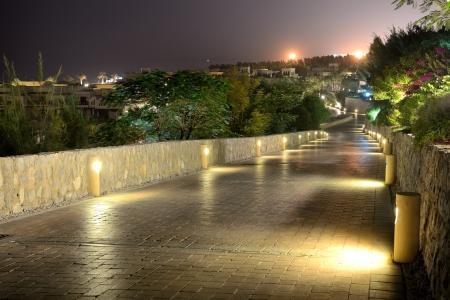 khaima: Night illumination at luxury hotel, Ras Al Khaima, UAE Stock Photo