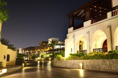 Night illumination of restaurant at luxury hotel, Ras Al Khaima, UAE