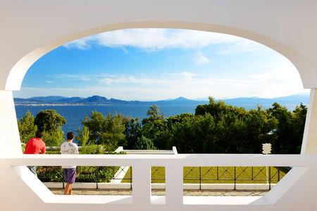 peloponnes: The beach on Ionian Sea at luxury hotel, Peloponnes, Greece Stock Photo