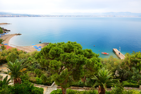 peloponnes: The beach at popular hotel, Peloponnes, Greece