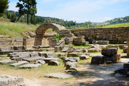 The entrance in ancient Olympia Stadium, Peloponnes, Greece photo