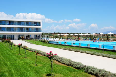 peloponnes: PELOPONNES, GREECE - JUNE 8: The tourists enjoying their vacation at luxury hotel on June 8, 2013 in Peloponnes, Greece. Up to 16 mln tourists is expected to visit Greece in year 2013. Editorial