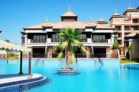 The luxury villas in Thai style hotel on Palm Jumeirah man-made island, Dubai, UAE