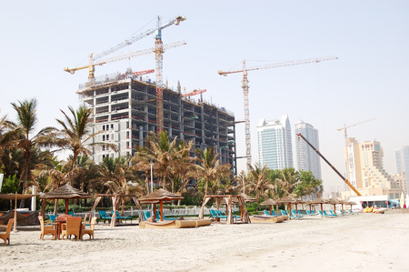 ajman: View on the beach and buildings of the luxury hotels, Ajman, UAE