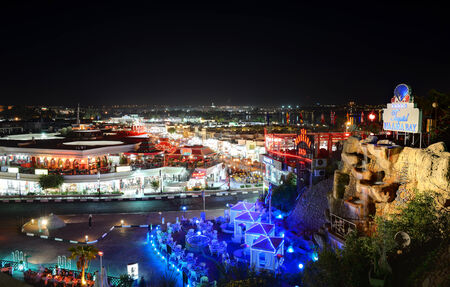 naama bay: SHARM EL SHEIKH, EGYPT -  DECEMBER 1: The view on night life in Naama Bay on December 1, 2012 in Sharm el Sheikh, Egypt. Up to 12 million tourists have visited Egypt in year 2012.