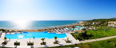 peloponnes: Panorama of the beach at luxury hotel, Peloponnes, Greece Stock Photo