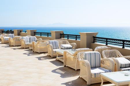 peloponnes: Sea view terrace of luxury hotel, Peloponnes, Greece