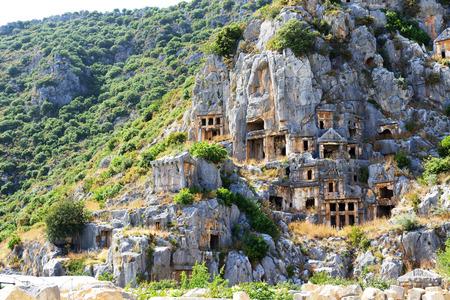 The rock-cut tombs in Myra, Antalya, Turkey Stock Photo
