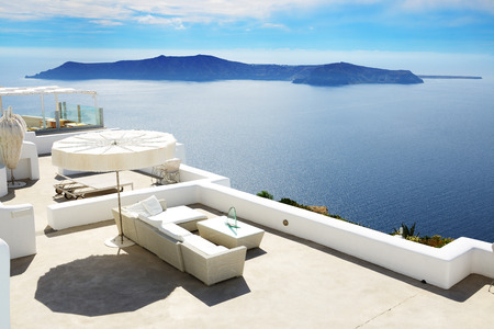 luxury hotel: The sea view terrace at luxury hotel, Santorini island, Greece