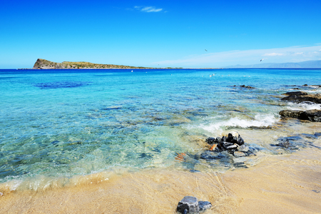 uninhabited: The beach on uninhabited island, Crete, Greece